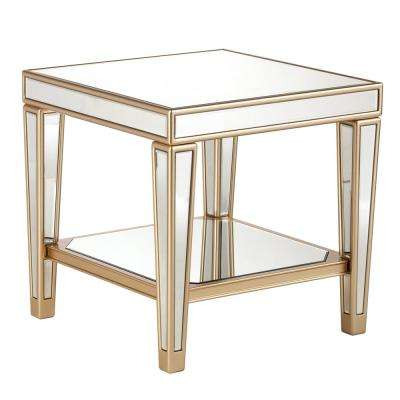 Huntleigh Metallic Champagne Glam Mirrored End Table