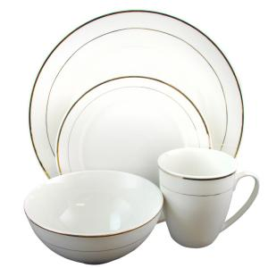 GIBSON HOME Palladine 16-Piece White Double Gold Banded Dinnerware Set by GIBSON HOME