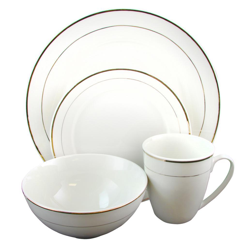 Palladine 16-Piece White Double Gold Banded Dinnerware Set