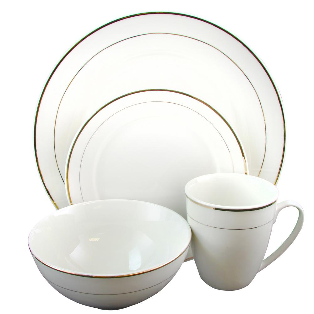GIBSON HOME Palladine 16-Piece White Double Gold Banded Dinnerware Set  sc 1 st  The Home Depot & GIBSON HOME Palladine 16-Piece White Double Gold Banded Dinnerware ...