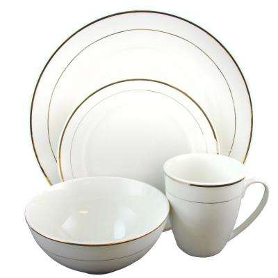 Palladine 16-Piece White Double Gold Banded Dinnerware Set