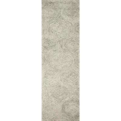 """London Collection Beige 100% Wool 2'6"""" x 8' Hand-Tufted Trellis Area Rug"""