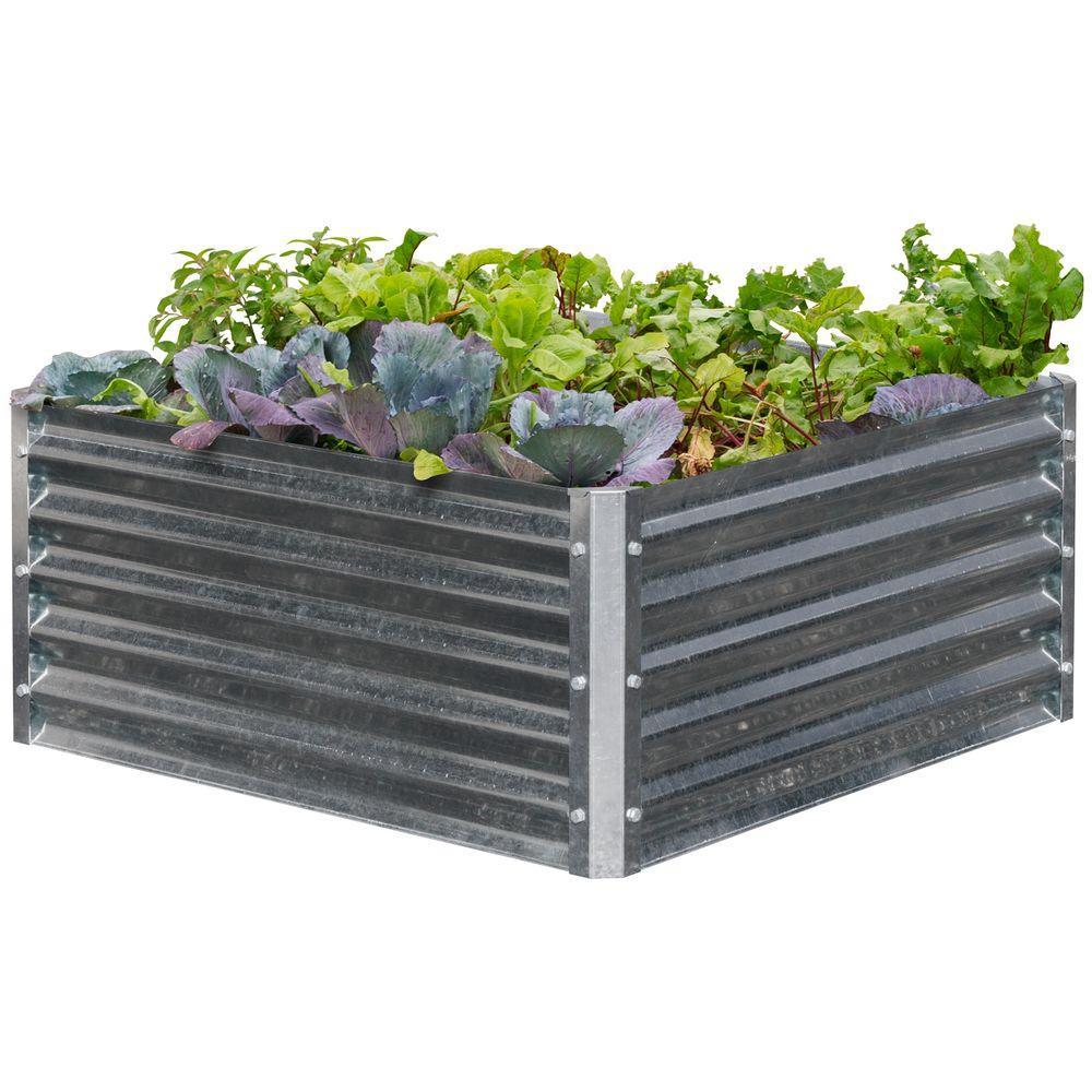 Square Galvanized Metal Raised Garden Bed