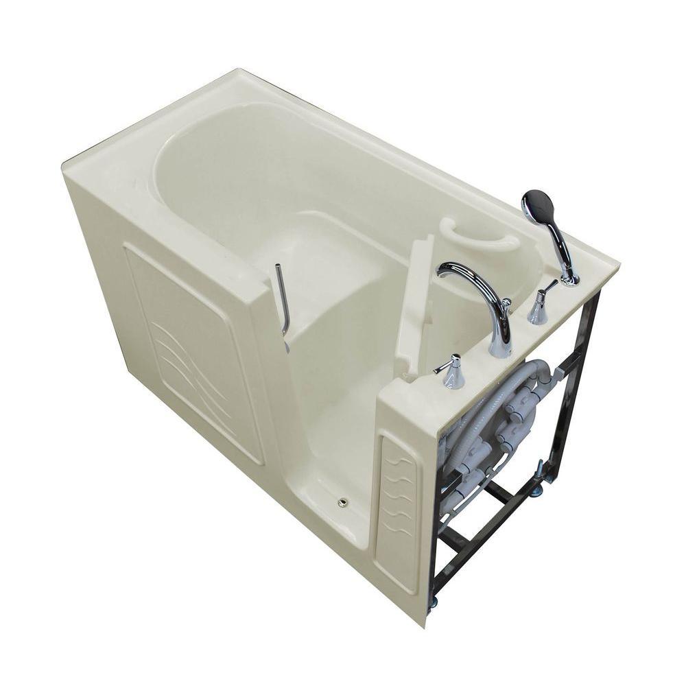 HD Series 30 in. x 60 in. Right Drain Quick Fill Walk-In Soaking Bathtub in Biscuit