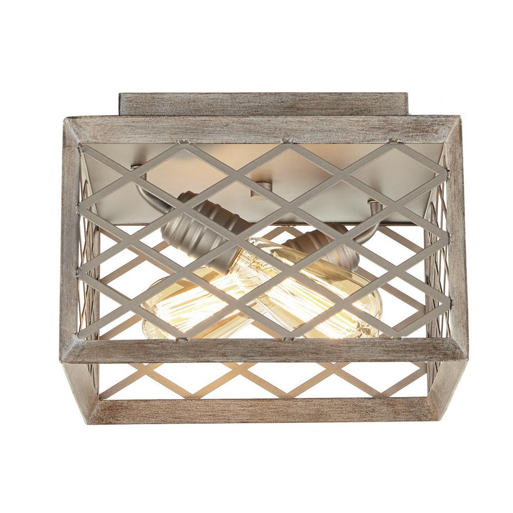 Home Decorators Collection Wallace Manor Collection 11 in. 2-Light Gilded Pewter Flush Mount with Interweaving Cage Frame