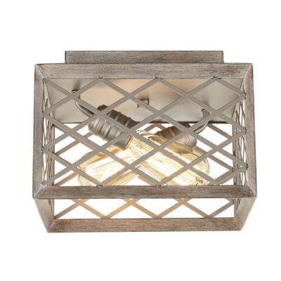 Wallace Manor Collection 11 in. 2-Light Gilded Pewter Flush Mount with Interweaving Cage Frame