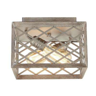 11 in. 2-Light Gilded Pewter Flushmount with Interweaving Cage Frame