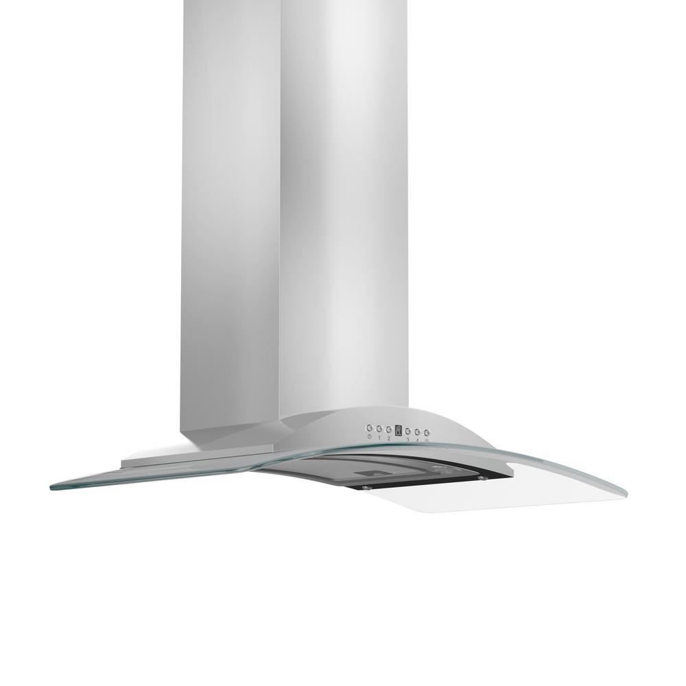 Zline Kitchen And Bath 36 In. Convertible Wall Mount Range Hood In Stainless Steel And Glass, Brushed 430 Stainless Steel