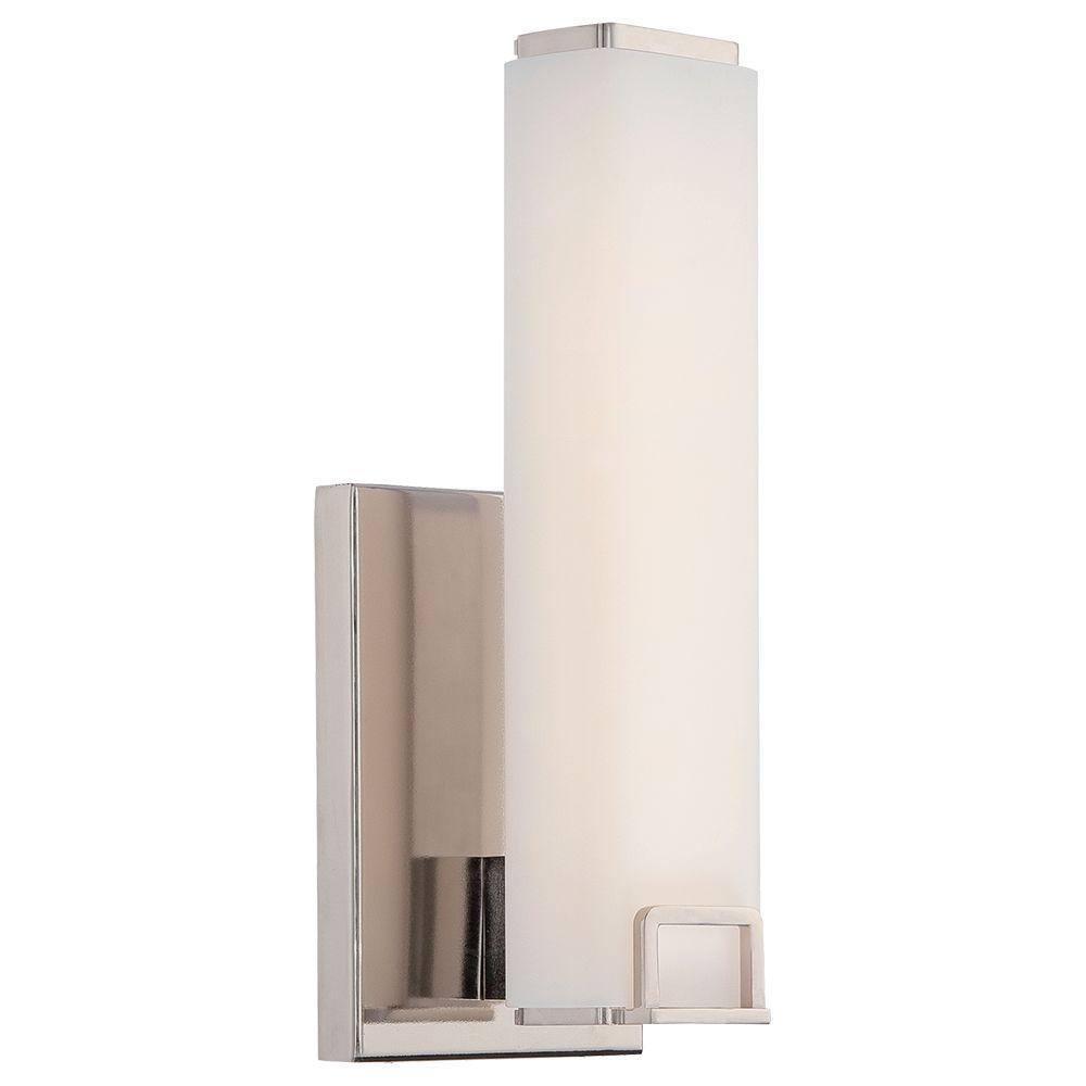Square Polished Nickel LED Bath Wall Mount Lantern
