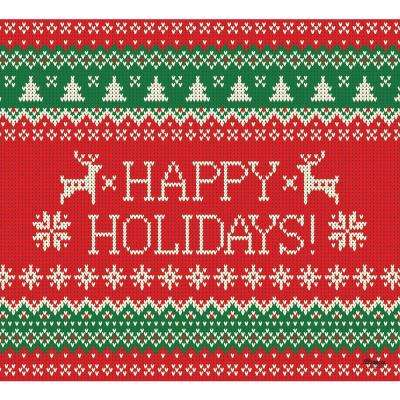 7 ft. x 8 ft. Ugly Christmas Sweater Happy Holidays-Christmas Garage Door Decor Mural for Single Car Garage