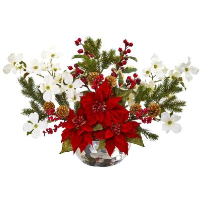 Poinsettia Dogwood Berry and Pine Artificial Arrangement in Silver Vase