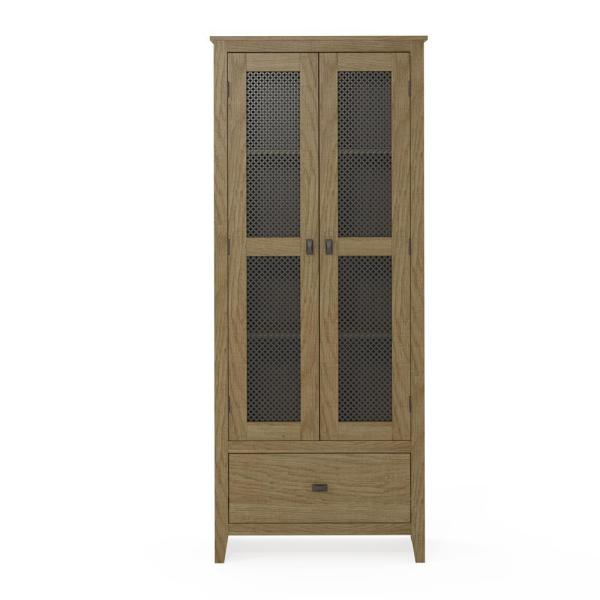 System Build Luca 30 in. Golden Oak Wide Storage Cabinet with Mesh Doors
