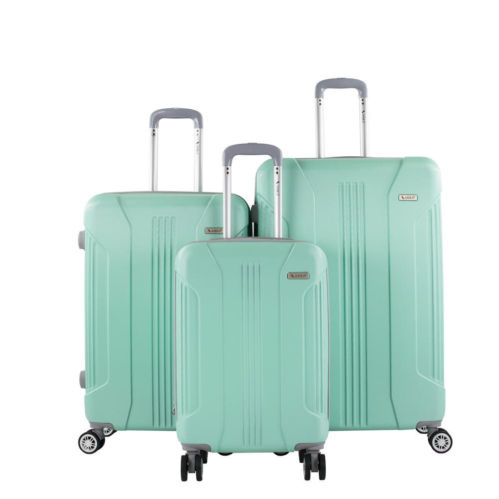 AMKA Sierra Mint 3-Piece Expandable Hardside Spinner Luggage with TSA Lock