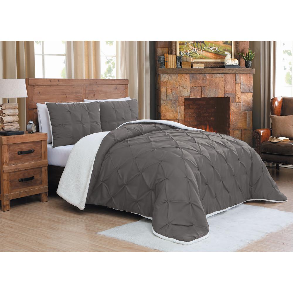 Avalanche 3-Piece Grey Queen Chandler Sherpa Comforter Set
