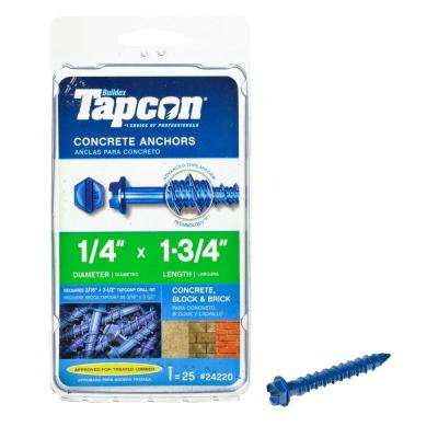 1/4 in. x 1-3/4 in. Hex-Washer-Head Concrete Anchors (25-Pack)