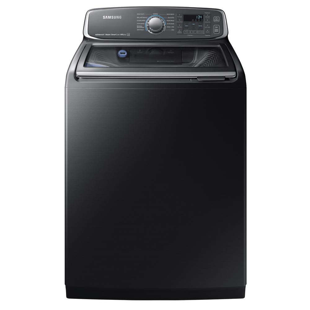 84f421cadeac4f Samsung. 5.2 cu. ft. High-Efficiency Top Load Washer with Steam and  Activewash in Black Stainless, ENERGY STAR
