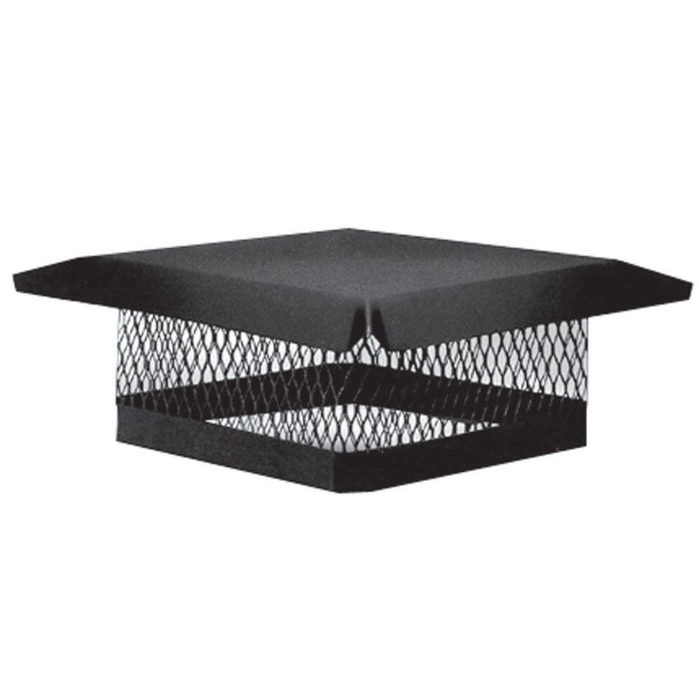 9 in. x 13 in. Galvanized Steel Fixed Chimney Cap in Black