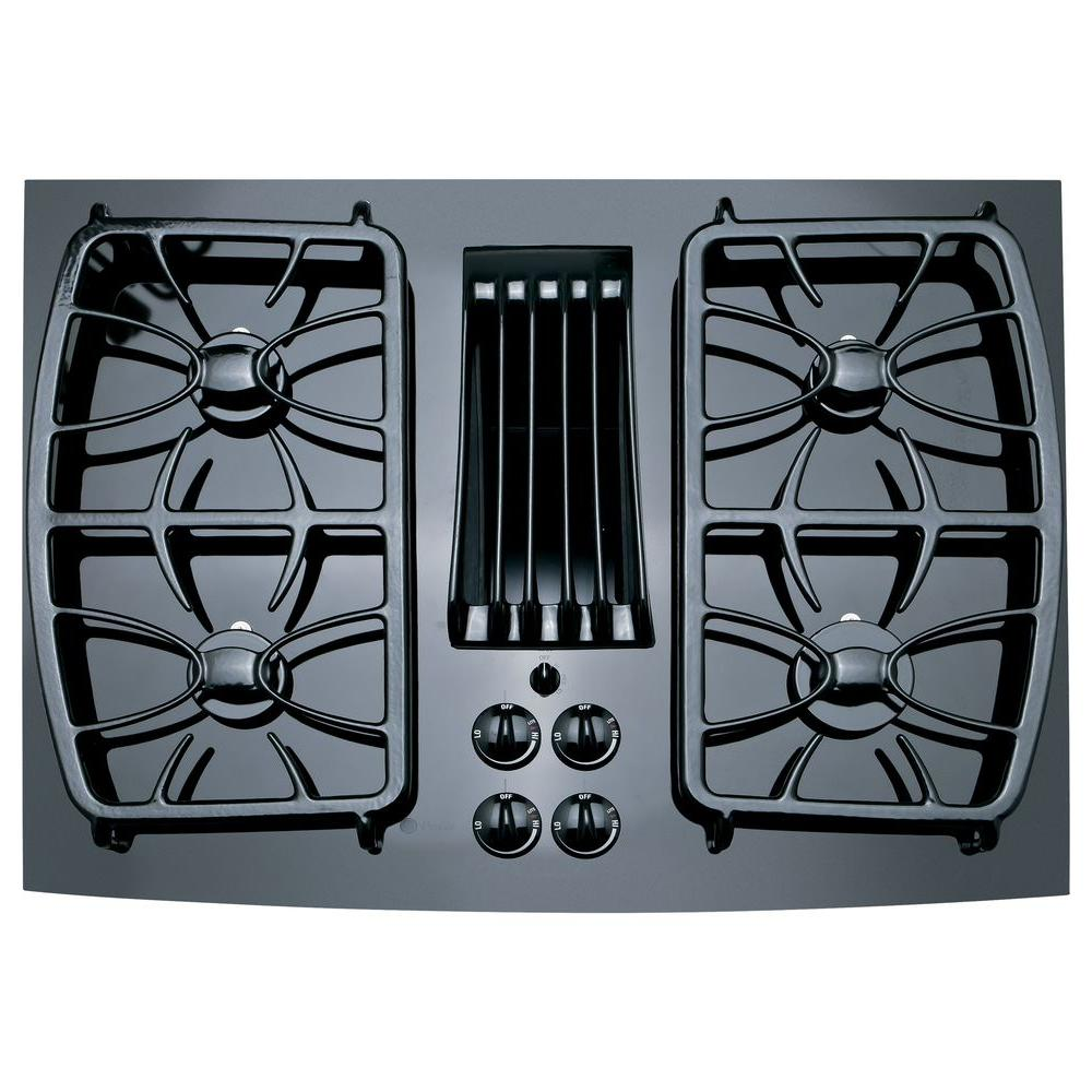 GE Profile 30 in. Gas-on-Glass Gas Cooktop in Black with 4 Burners including a 11,000 BTU All-Purpose Burner