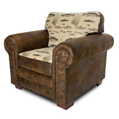 Angler's Cove Fishing Tapestry Upholstered Arm Chair