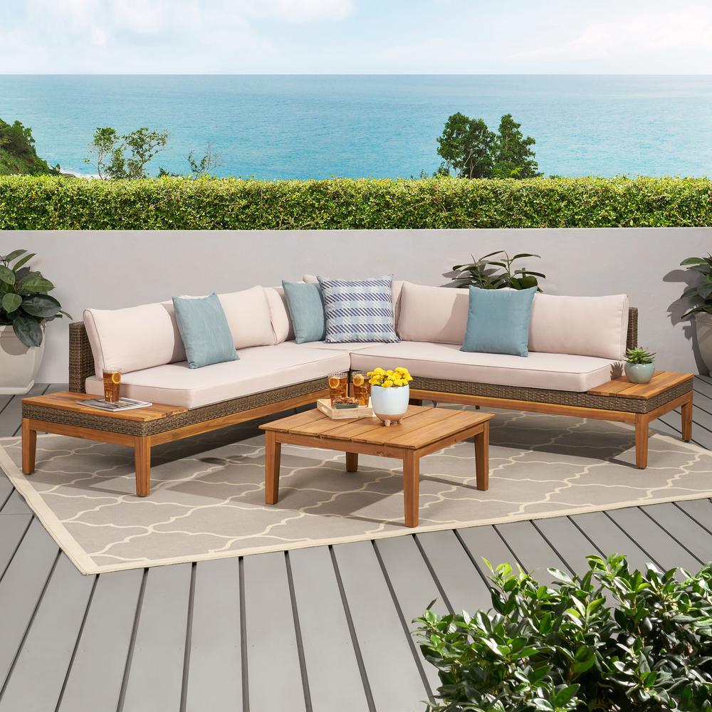 Loft Teak Brown 4-Piece Wicker Patio Conversation Sectional Seating Set with Light Khaki Cushions