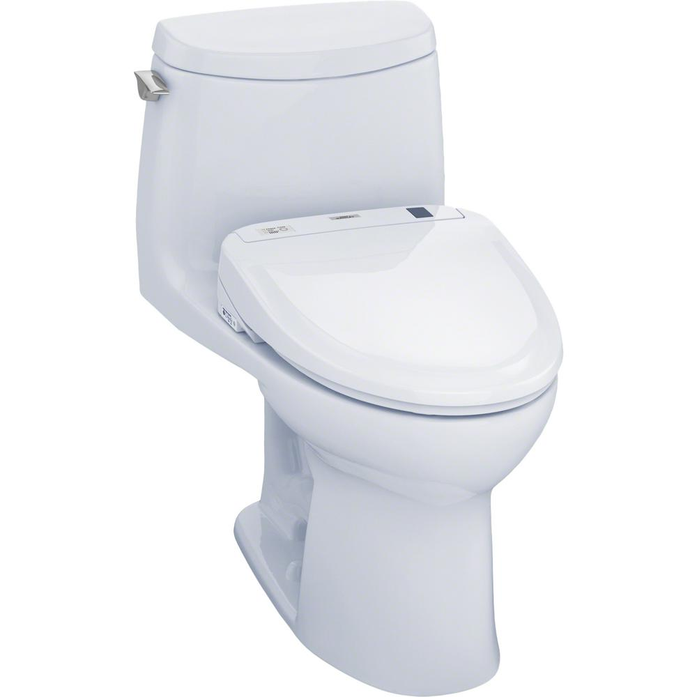 TOTO UltraMax II Connect 1-Piece 1.0 GPF Elongated Toilet with Washlet S350e Bidet and CeFiOntect in Cotton White