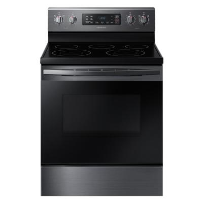 30 in. 5.9 cu. ft. Freestanding Electric Range with Self Cleaning and 5-Burners in Black Stainless Steel