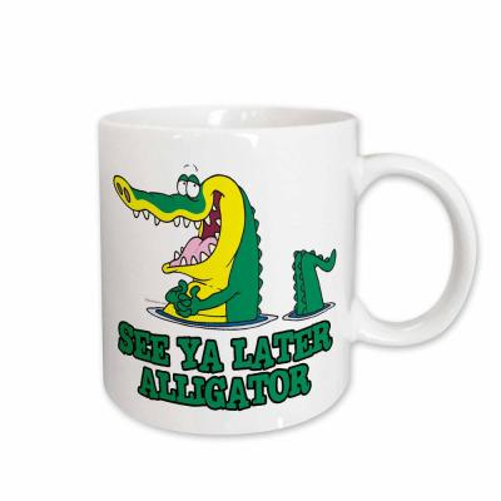 Dooni Designs Random Toons See Ya Later Alligator 11 oz. White Ceramic Coffee Mug