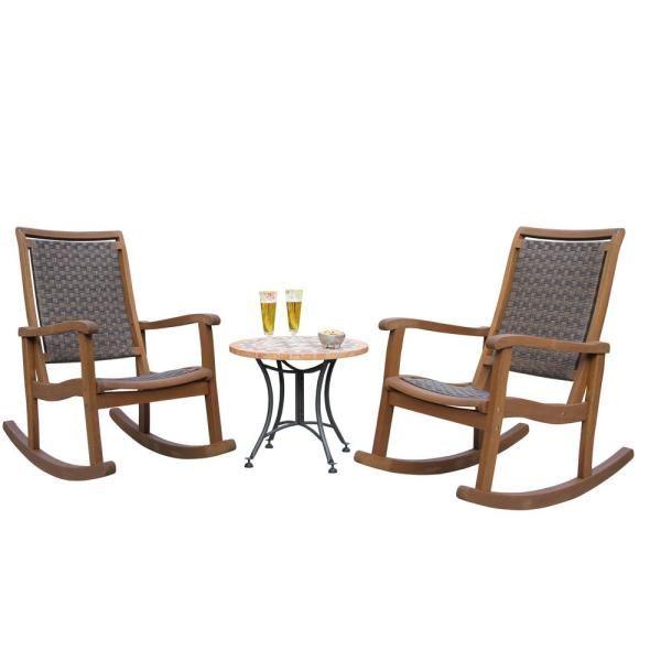 3-Piece Brown Wicker and Eucalyptus Outdoor Rocking Chair Set with Terra Cotta Accent Table