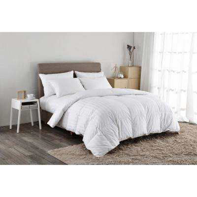 500 Thread Count White Goose Down Comforter Twin in White