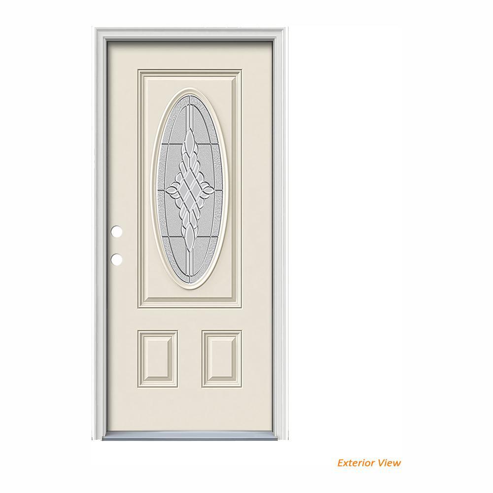 JELD-WEN 36 in. x 80 in. 3/4 Oval Lite Hadley Primed Fiberglass Prehung Right-Hand Inswing Front Door w/Brickmould