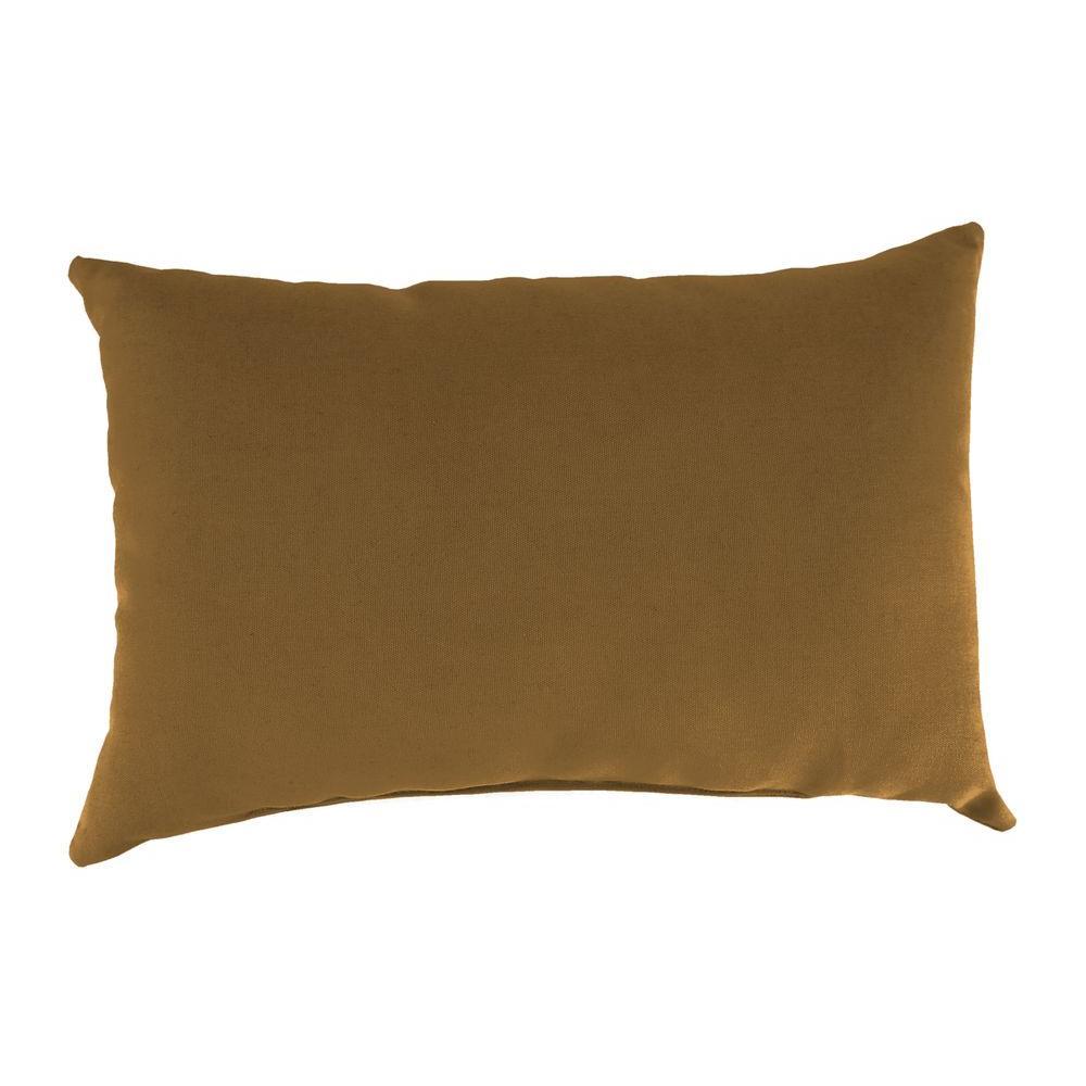 Sunbrella 19 in. x 12 in. Canvas Teak Lumbar Outdoor Throw Pillow