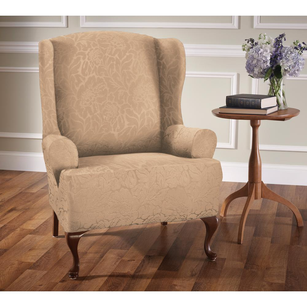 floral slipcovers for wingback chairs | Stretch Sensations Stretch Floral Wing Chair Slipcover ...
