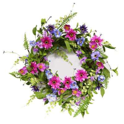 21 in. Wreath with Chrysanthemum's