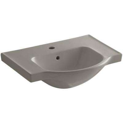 Veer 24 in. Vitreous China Pedestal Sink Basin in Cashmere with Overflow Drain