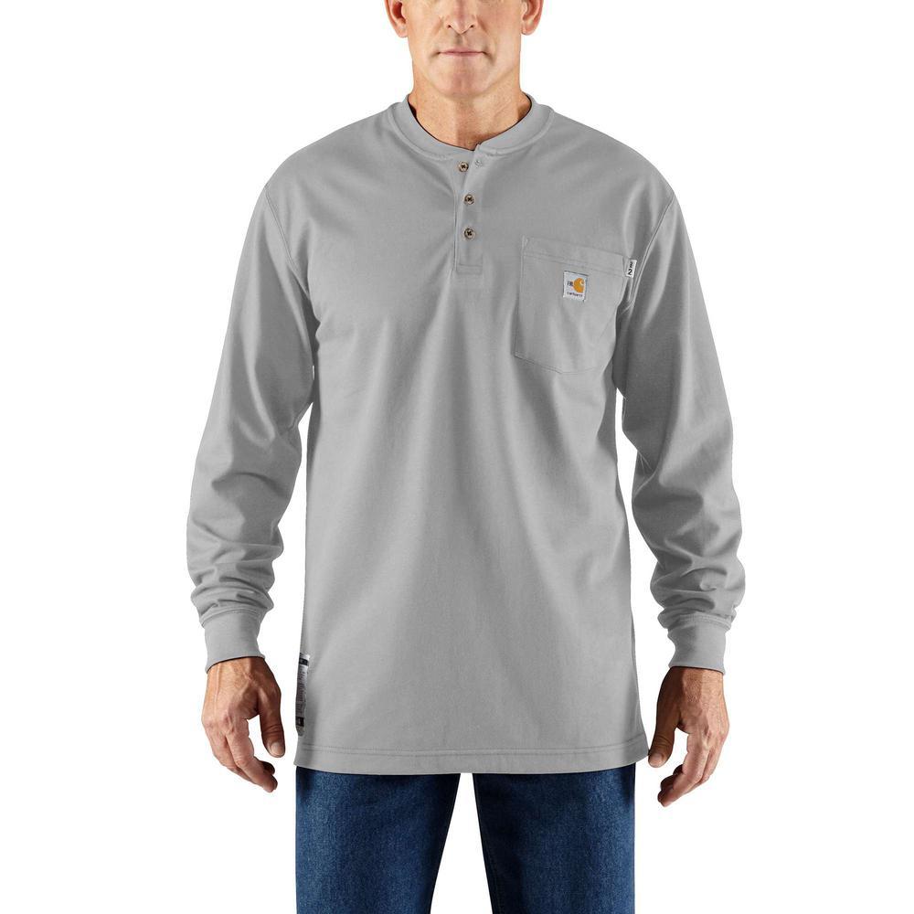 f5cf15a6cd4a0f Carhartt Men's Regular Large Light Gray FR Force Cotton Long Sleeve ...