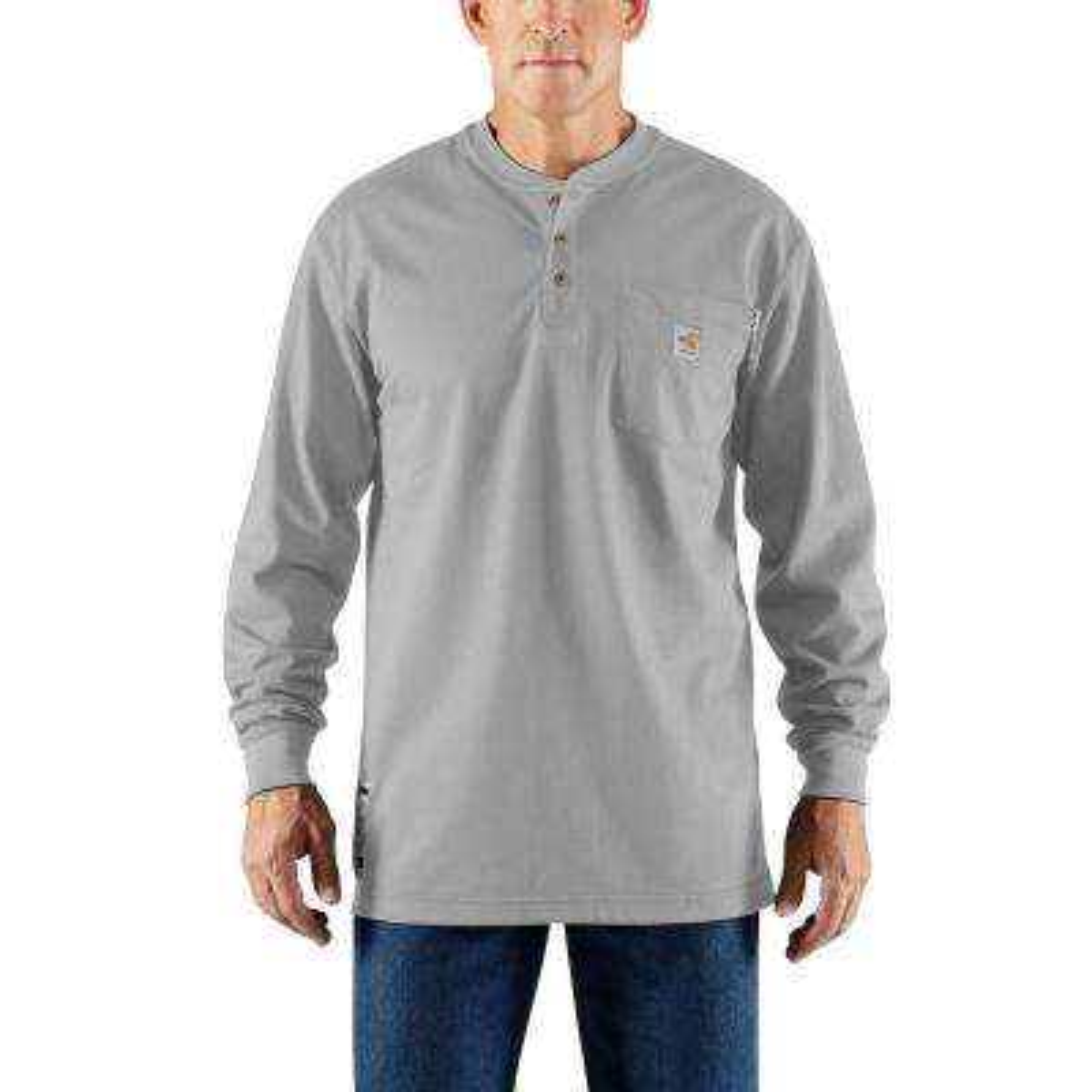 Men's Tall 2X-Large Light Gray FR Force Cotton Long Sleeve Henley