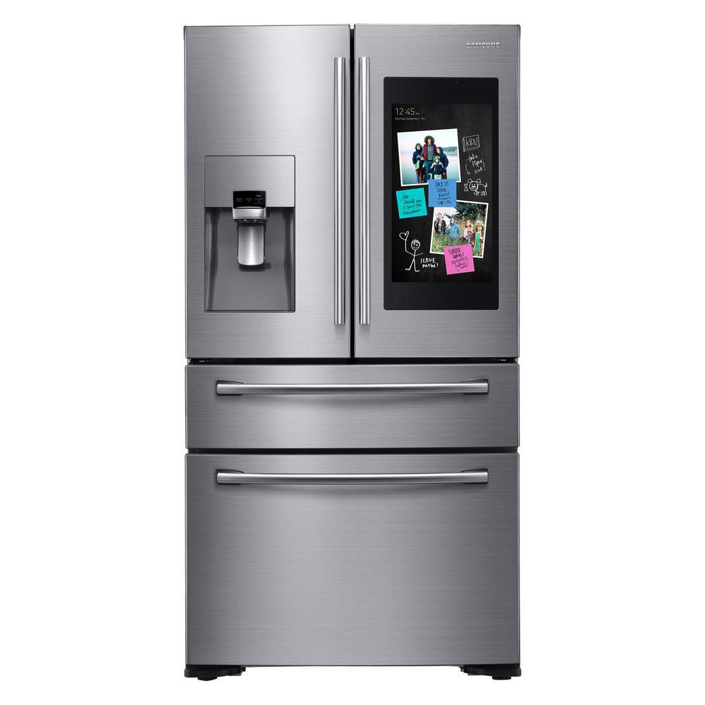 Samsung 21.9 cu. ft. Family Hub 4-Door French Door Smart Refrigerator in Stainless Steel, Counter Depth