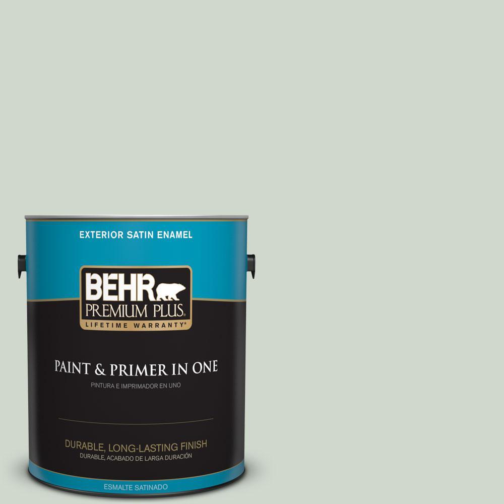 BEHR Premium Plus 1-gal. #ICC-48 Aspen Mist Satin Enamel Exterior Paint
