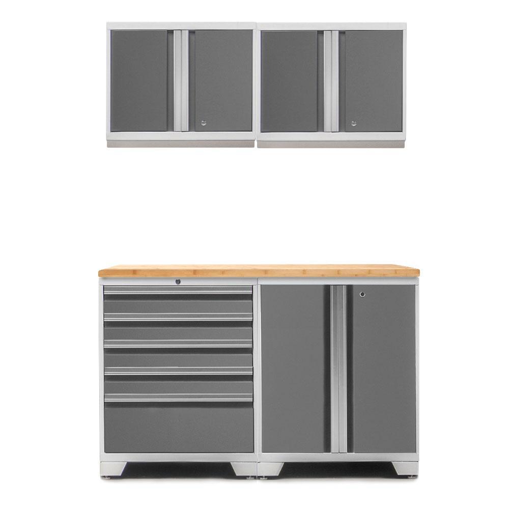 Pro 3.0 85 in. H x 56 in. W x 22 in. D 18-Gauge Welded Steel Bamboo Worktop Cabinet Set in Platinum (5-Piece)