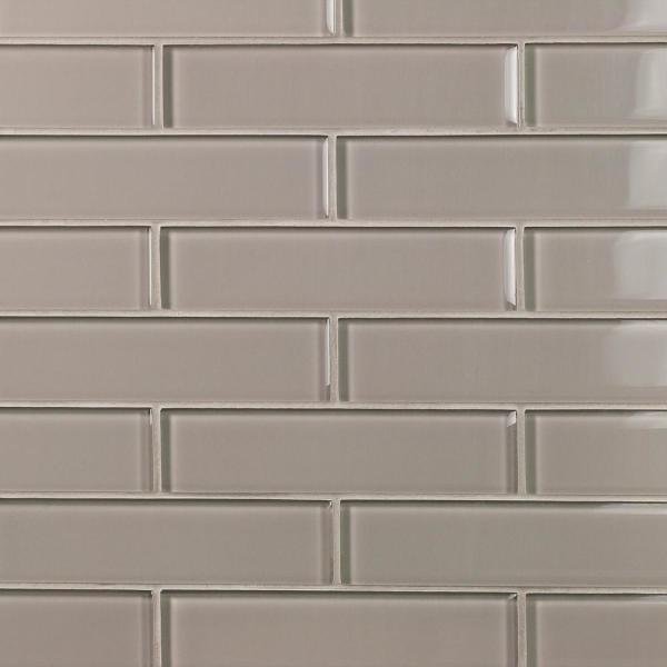 Contempo Taupe 2 in. x 8 in. x 8mm Polished Glass Floor and Wall Tile (36 pieces 4 sq.ft./Box)