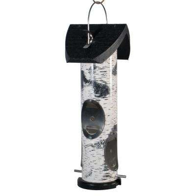Heavy Duty Birch Log Nyjer Seed Tube Bird Feeder