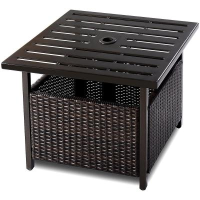 Brown Square Wicker 19 in. H Outdoor Side Table with Extension