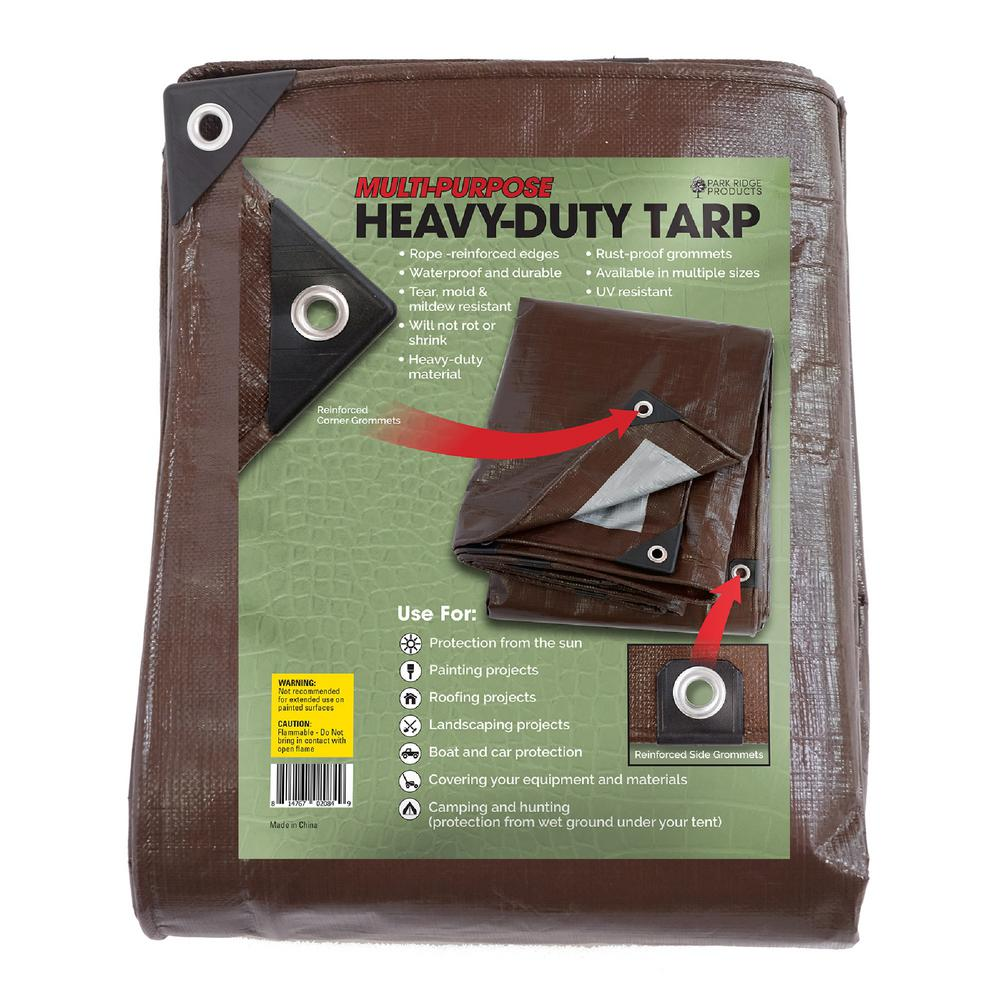 10 ft. x 15 ft. Heavy-Duty Brown/Silver Reversible Poly Tarp 10