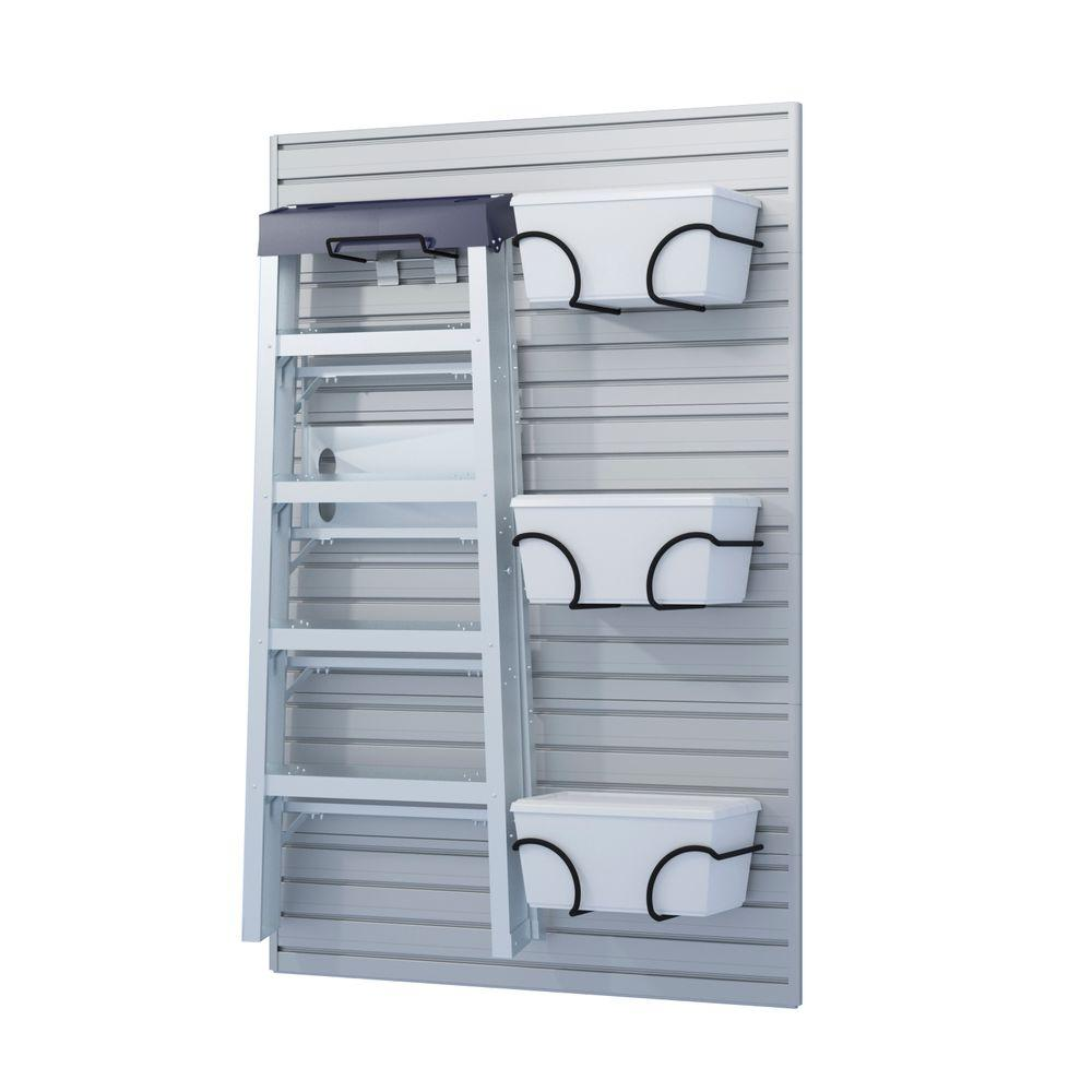 Flow Wall Ladder Hook and Bin Bracket Combo in Silver