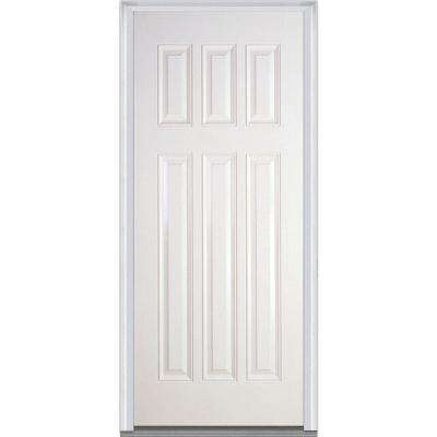 36 in. x 80 in. Severe Weather Craftsman Right-Hand Outswing 6-Panel Primed Fiberglass Smooth Prehung Front Door