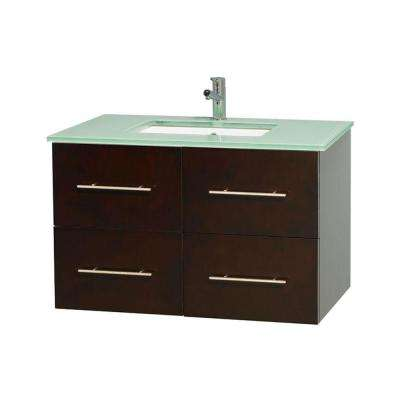 Centra 36 in. Vanity in Espresso with Glass Vanity Top in Green and Undermount Sink