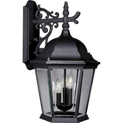 Welbourne Collection 3-Light 22.25 in. Outdoor Textured Black Wall Lantern Sconce