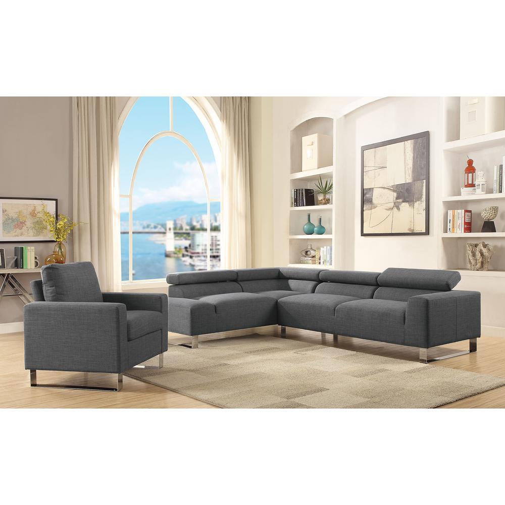 Horace Gray Linen Sectional Sofa
