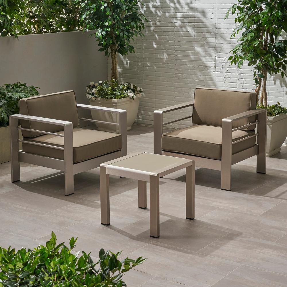 Cape Coral Silver 3-Piece Aluminum Patio Conversation Set with Khaki Cushions