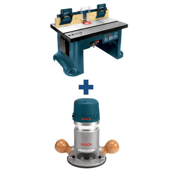 15 Amp Corded 27 in. x 18 in. Aluminum Router Table with Bonus 12 Amp Corded 2.25 HP Variable Speed Fixed-Base Router